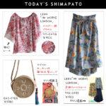 【しまパト】HK新作!花柄スカートとペイズリー柄ブラウス、雑材丸型バッグ