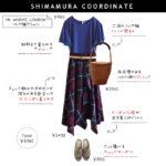 【しまむらコーデ】HKブルーTシャツ×チェック柄イレヘムスカートで初秋を意識したコーデ