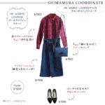 【しまむらコーデ】HK WORKS LONDONで作るきれいめカジュアル、アイラインスカートで細見え