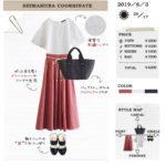 【しまむら一か月着回しコーデ】1000円スカートが使える!刺繍トップスを合わせて初夏のきれいめコーデ