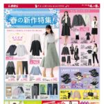 【しまむらチラシ】春の新作特集、セットでお得な春コーデ、550・770・990円特価